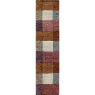 Hand-knotted Geometric Orange Berry Wool Rug (2'8 x 9')