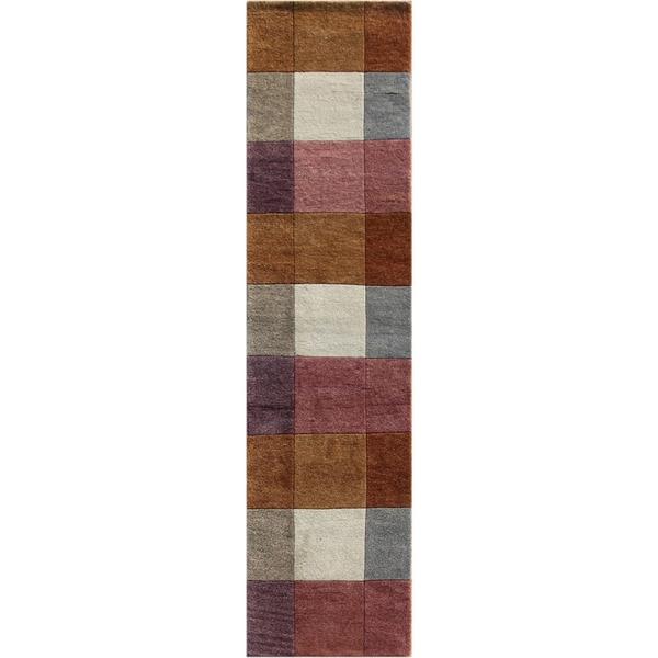 Hand-knotted Geometric Orange Berry Wool Rug (2'8 x 9')