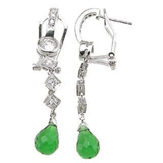 Sterling Silver Simulated Tourmaline Antique Style Pave Earrings