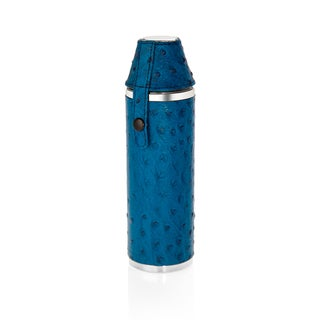 10 oz. Hunter's Flask with 2 Cups in Blue Ostrich Genuine Leather