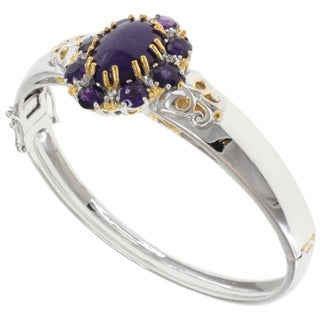 Michael Valitutti Two-tone Purple Jade and Amethyst Bangle Bracelet