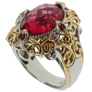Michael Valitutti Two-tone Rubellite Quartz Ring