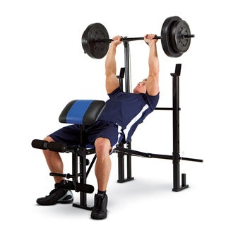 Marcy Standard Weight Bench 120 Pound Lat Tower Weight Set
