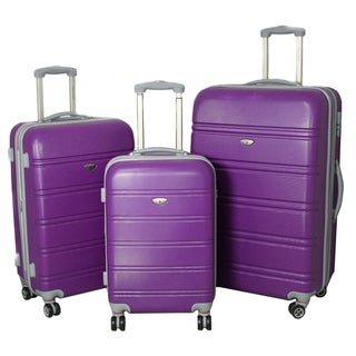 American Getaway 3-piece Lightweight Expandable Hardside Spinner Luggage Set with TSA Lock - Purple