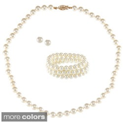 Alexa Starr Glass Pearl 3-piece Jewelry Set