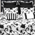 Venice 12-Piece Black and White Bed in a Bag with Deep Pocket Sheet Set