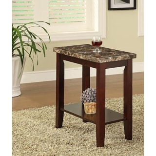Espresso Wooden Marble Chair Side End Table