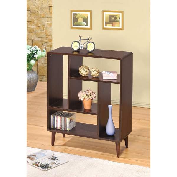 Espresso Accent Cabinet Bookshelf Display Shelf