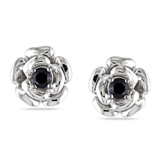Miadora Sterling Silver Black Spinel Flower Earrings