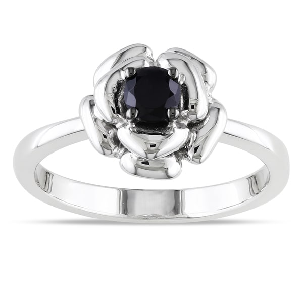 M by Miadora Sterling Silver Black Spinel Flower Ring