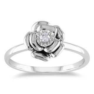 Haylee Jewels Sterling Silver or Rose Gold Over Silver Diamond Accent Flower Ring