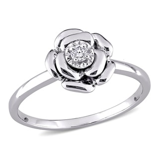 M by Miadora Sterling Silver or Rose Gold Over Silver Diamond Accent Flower Ring