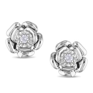 M by Miadora Sterling Silver Diamond Accent Flower Earrings