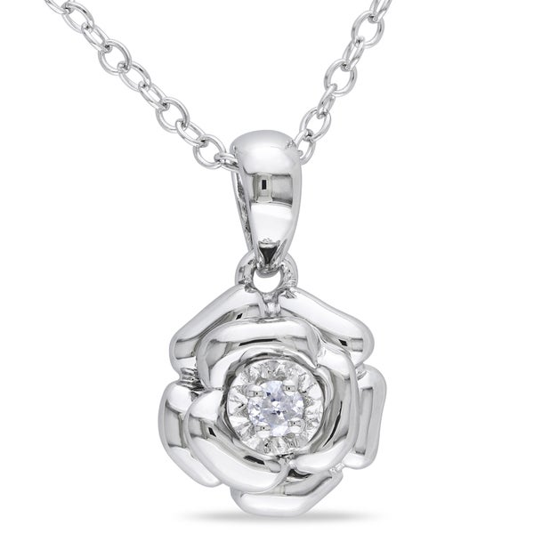 Haylee Jewels Sterling Silver Diamond Accent Flower Necklace