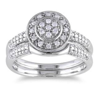 Haylee Jewels Sterling Silver 1/6ct TDW Diamond Bridal Halo Ring Set (H-I, I2-I3)
