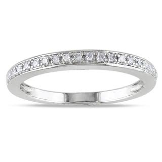 Miadora 14k White Gold 1/10ct TDW Diamond Anniversary Ring (G-H, I1-I2) with Bonus Earrings