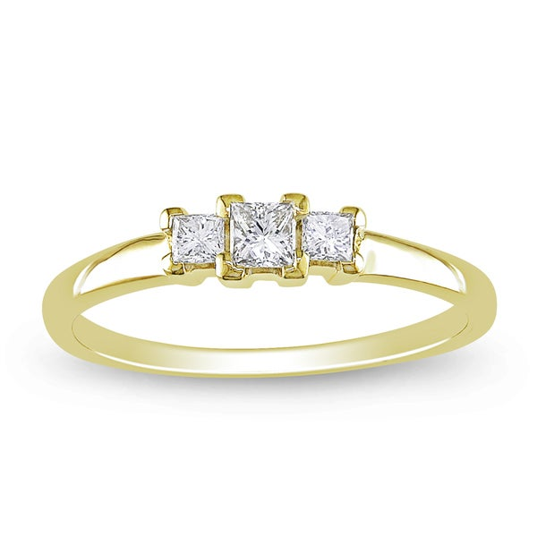 Miadora 14k Yellow Gold 1/4ct TDW Diamond 3-stone Ring (G-H, I1-I2)