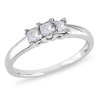Miadora 14k White Gold 1/2ct TDW Diamond 3-stone Ring (H-I, I2-I3)
