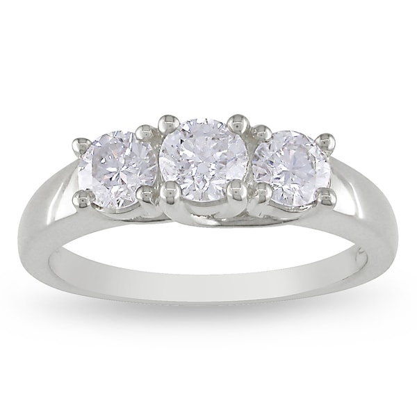 Miadora 14k White Gold 1ct TDW Diamond 3-stone Ring (G-H, SI1-SI2)