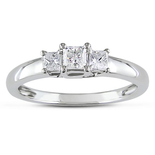 Miadora 14k White Gold 1/2ct TDW Diamond 3-stone Ring (G-H, SI1)
