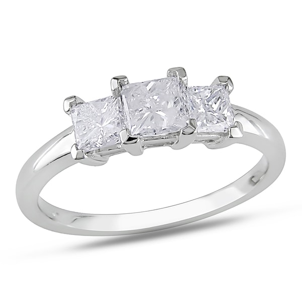 Miadora 14k White Gold 1ct TDW Diamond 3-stone Ring (G-H, SI1-SI2)