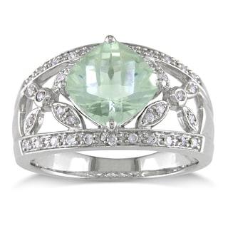 Miadora 14k Gold Green Amethyst and 1/5ct TDW Diamond Ring (G-H, I1-I2)