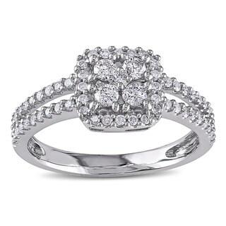 Miadora 10k White Gold 1/2ct TDW Round-cut Diamond Halo Ring (H-I, I2-I3)