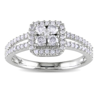 Miadora 10k White Gold 1/2ct TDW Round-cut Diamond Halo Ring (H-I, I2-I3)