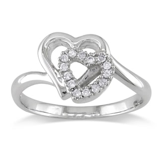 Miadora 14k White Gold 1/10ct TDW Diamond Double Heart Ring (I-J,I2)