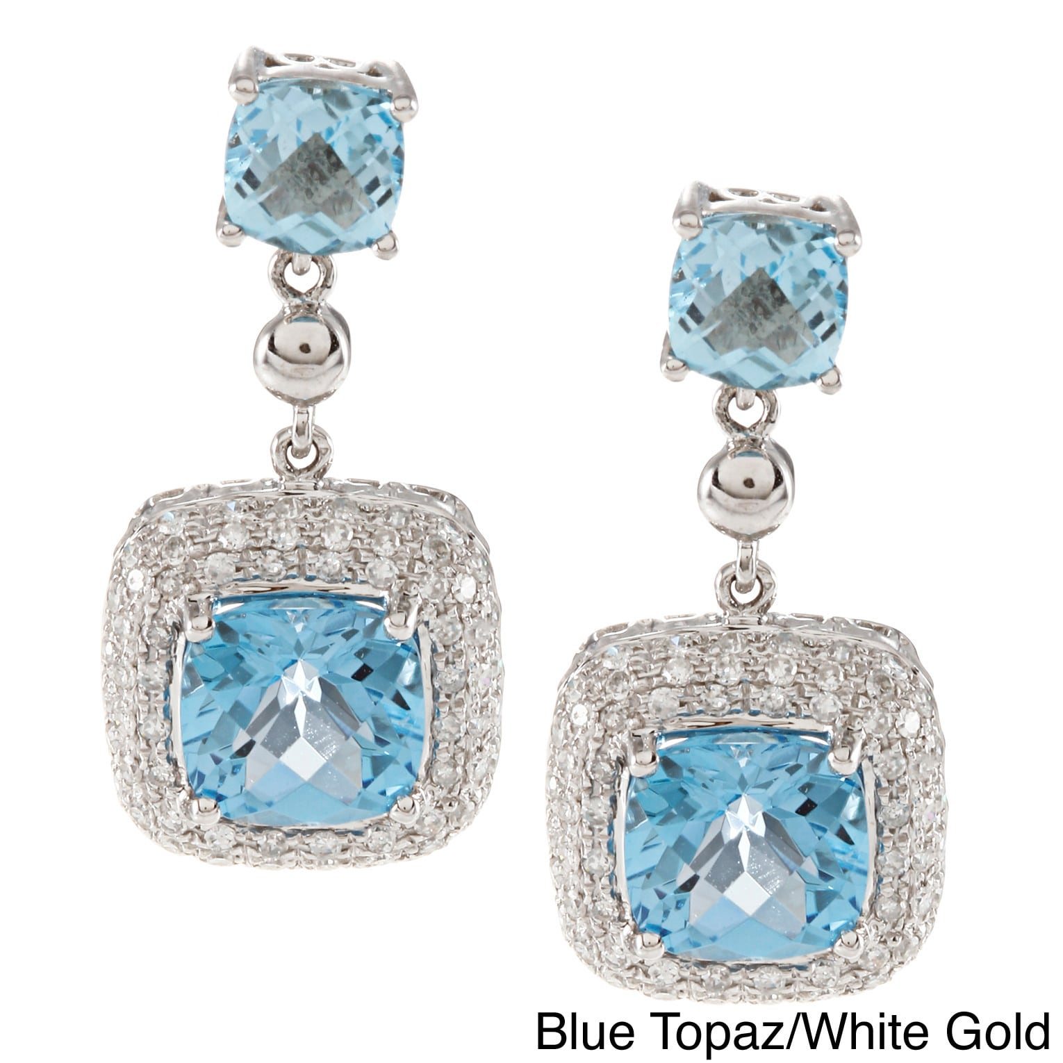 Overstock.com 14k Gold Square Gemstone 1/2ct TDW White Diamond Earrings (IJ, I1-I2)