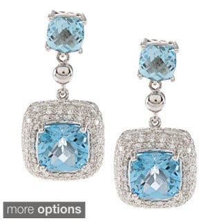 14k Gold Square Gemstone 1/2ct TDW White Diamond Earrings (IJ, I1-I2)