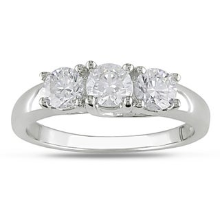 Miadora 10k White Gold 1ct TDW Diamond 3-stone Ring (H-I, I2-I3)