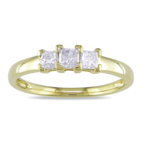 Miadora 10k Yellow Gold 1/2ct TDW 3-Stone Princess Cut Diamond Ring (H-I, I2-I3)