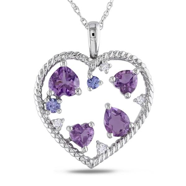 Miadora 10k White Gold Multi-gemstone and Diamond Accent Heart Necklace