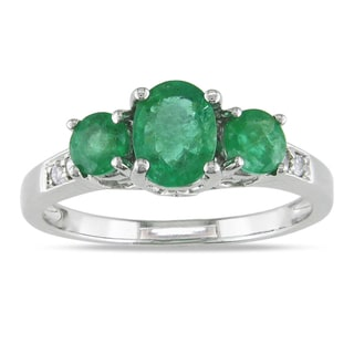 Miadora 14k White Gold Emerald and Diamond Accent 3-stone Ring