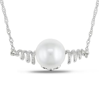 Miadora 14k White Gold White Freshwater Pearl Necklace (8.5-9 mm)