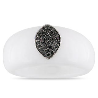 Miadora 14k White Gold White Onyx and 1/10ct TDW Black Diamond Ring