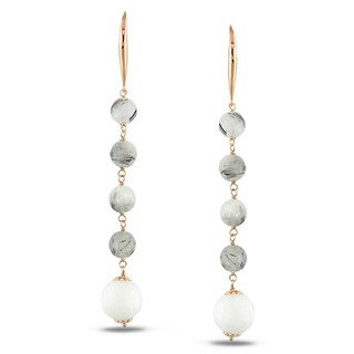 Miadora Rose-plated Silver Quartz and Agate Drop Earrings