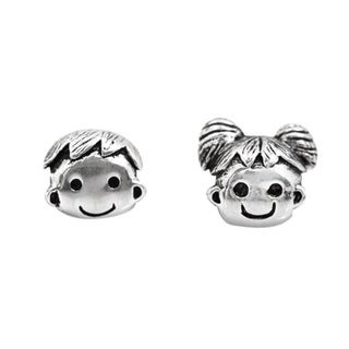 De Buman Sterling Silver Boy and Girl Smiley Face Charm Bead