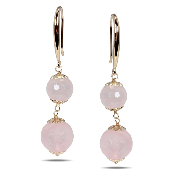 Miadora Rose-plated Silver Rose Quartz Earrings