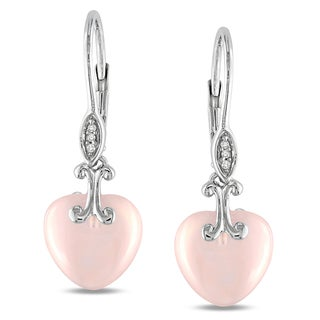 Miadora Sterling Silver Pink Chalcedony and Diamond Accent Heart Earrings