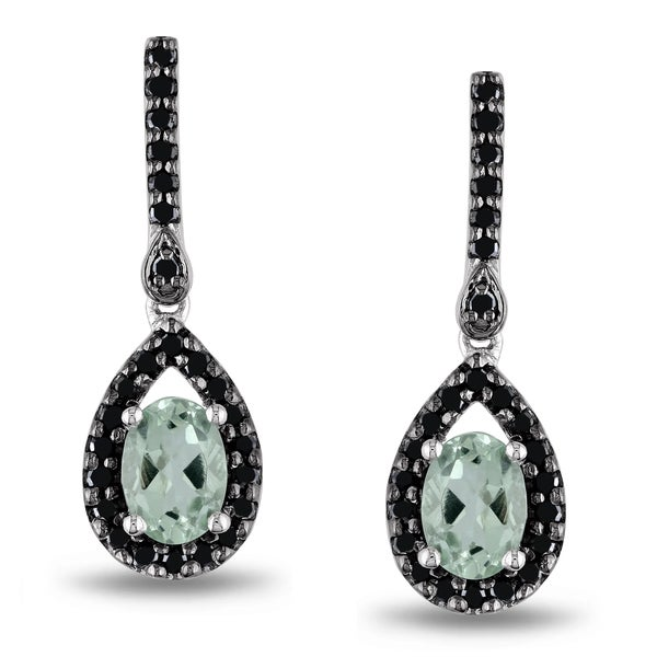 Miadora Silver Green Amethyst and 1/2ct TDW Black Diamond Earrings