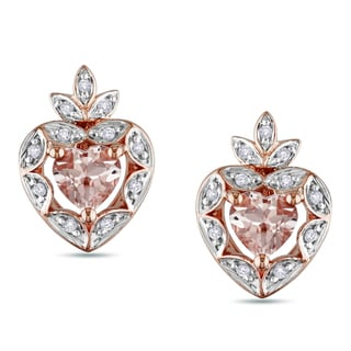 Miadora Rose-plated Silver Morganite and 1/10ct TDW Diamond Earrings (I-J, I2-3)