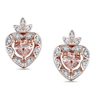 Miadora Rose-plated Silver Morganite and 1/10ct TDW Diamond Earrings (I-J, I2-3)
