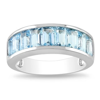 Miadora Sterling Silver Baguette-shaped Blue Topaz Ring