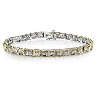 Miadora Sterling Silver/ 10k Gold 1ct TDW Diamond Bracelet (J-K, I2-I3)