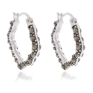 Silver Overlay Marcasite Hoop Earrings