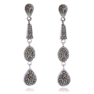 Dolce Giavonna Silver Overlay Marcasite Dangle Drop Earrings