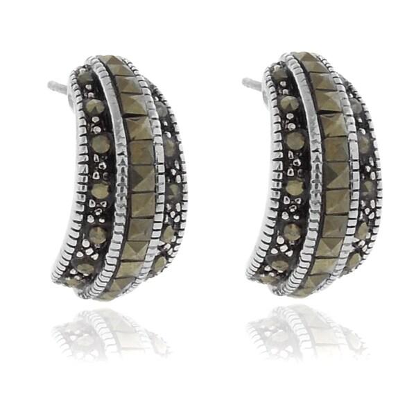 Dolce Giavonna Silverplated Marcasite Half Hoop Earrings