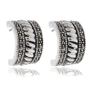 Dolce Giavonna Silver Overlay Marcasite Roped Half Hoop Earrings